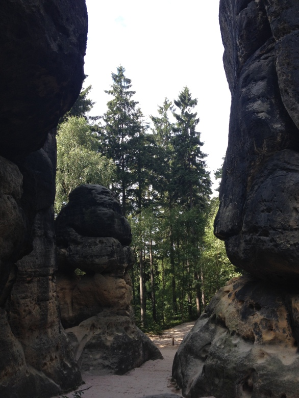 The Schrammsteine are a long, very jagged group of rocks in the Elbe Sandstone Mountains located east of Bad Schandau in Saxon Switzerland in East Germany.