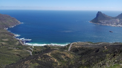 Beautiful view of Hout Bay, the sea and Chapman's Peak Drive.